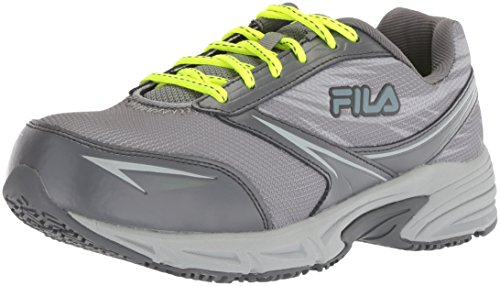 Fila Women's Memory Reckoning 8 Slip Resistant Steel Toe Running Shoe Food Service, Monument/Castlerock/Safety Yellow, 10