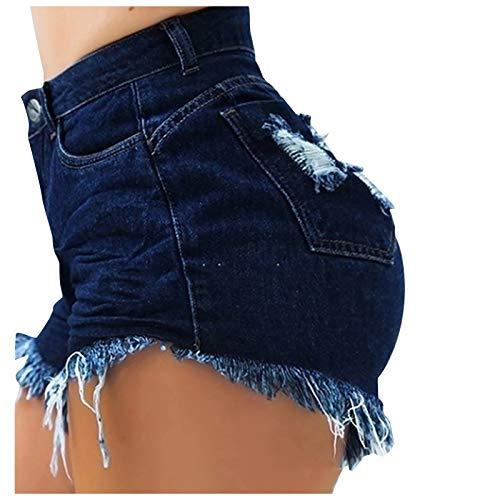 BIBOKAOKE Pantalones cortos de mujer de cintura alta, básicos, cómodos, ripped cortos, pantalones cortos delgados, pantalones calientes, para niñas con borlas, pantalones vaqueros cortos de verano