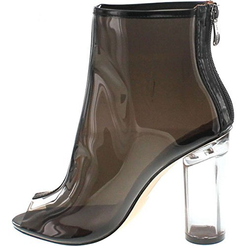 Cape Robbin Benny-1 Open Toe Block Chunky Clear Perspex Heel Ankle Boot Bootie Shoe,Black,8.5