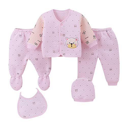 JERFER 5 STÜCKE Neugeborenes Baby Junge Mädchen Karikatur Tops + Hut + Hose + Lätzchen Outfits Nachtwäsche Einstellen