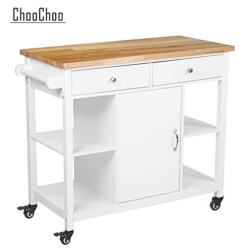 ChooChoo Kitchen Cart on Wheels with Wood Top, Utility Wood Kitchen Islands with Storage and Dra   wers, Easy Assembly - White