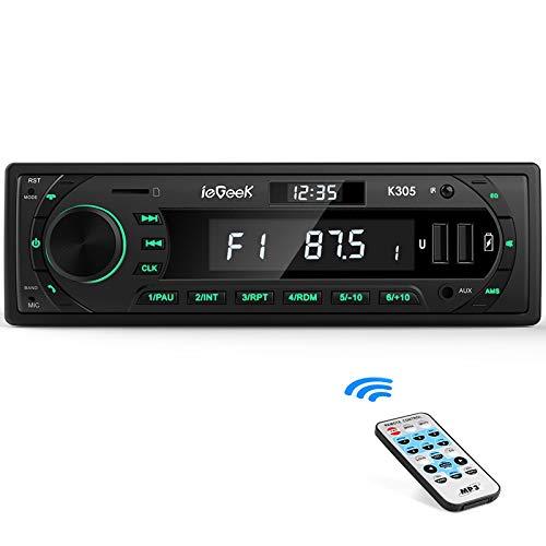 Autoradio Bluetooth RDS Stereo, ieGeek Luce dei Tasti a 7 Colori, 60WX4 Supporta FM/AM/AUX/MP3/WMA/WAV/USB/SD/Telecoman, Doppio Display LCD con Orologio domemorizza 30 stazioni radio, 1DIN