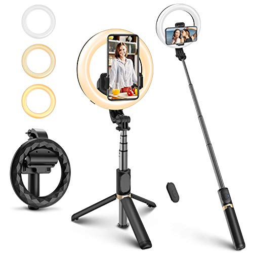 ELEGIANT Bastone Selfie Wireless, 4 in 1 Asta Selfie Stick Bluetooth con Luce Treppiede per Camera Gopro 3,7-6,8 Pollici Cellulare iPhone 11 XS Max XR x 8s Samsung Galaxy s20 s8 Huawei P40 P30 PRO
