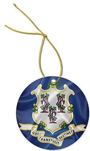 Yilooom Connecticut State Flag Round Shaped Hanging Decoration Ornament Xmas Special Keepsake Art Display - 3' In Diameter