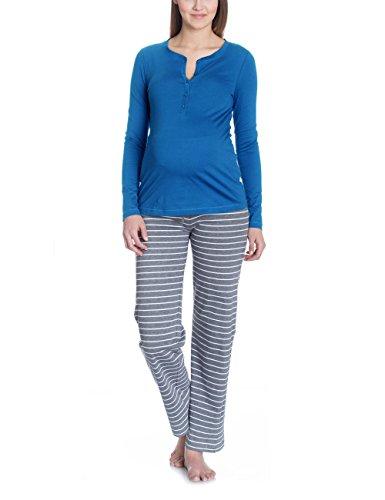 Bellybutton PHILINE-Schlafanzugshirt 1/1 Arm Haut de Pyjama de Maternité, Bleu (True Navy 3580), 36 (Taille du Fabricant: Small) Femme
