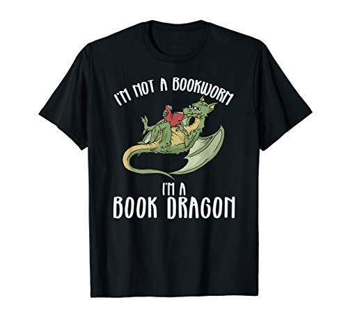 Book Dragon TShirt Funny I'm A Book Dragon Not A Worm Tee