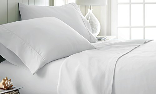 ienjoy Home Hotel Collection Luxury Soft Brushed Bed Sheet Set, Hypoallergenic, Deep Pocket, Queen, White