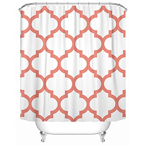 Accrocn Classic Modern Vintage Chic Moroccan Quatrefoil Coral and White Extra Long 72x96 Inches Waterproof Shower Curtain Curtains Fabric Decorative Bathroom Odorless Eco Friendly