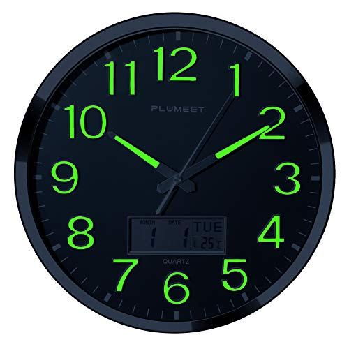 Luminous Wall Clock - 14'' Extra Large Wall Clocks with Glowing Function LCD Display - Silent Movement for Kitchen Bedroom - Digital Wall Clocks Display Date Week Temp - Battery Operated (Green Light)
