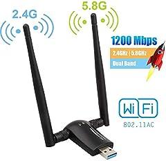 Flybiz Adaptador WiFi USB 3.0 Adaptador Dual Band (5.8GHz 866Mbps / 2.4GHz 300Mbps) 802.11ac Dongle WiFi Inalámbrico, 2 Antenas WiFi de 5dBi, para Windows XP/Vista/7/8/10, Linx2.6X, Mac OS X