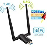 Flybiz Chiavetta WiFi 1200Mpbs, Adattatore USB 3.0 WiFi, Dual Band Wireless Adapter WiFi con Antenna 5dBi (300Mbps/2.4GHZ, 867Mbps/5.8GHZ) 802.11ac, per Windows XP/Vista/7/8/10, Linx2.6X; Mac OS X