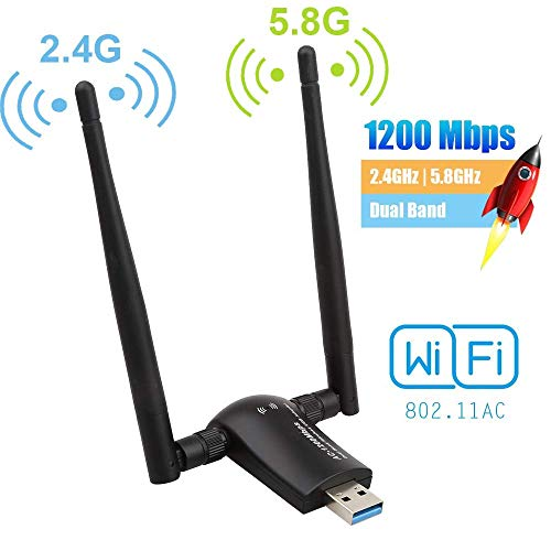 Flybiz Adattatore WiFi 1200Mpbs, Adattatore USB 3.0 WiFi, Dual Band Wireless Adapter WiFi con Antenna 5dBi (300Mbps/2.4GHZ, 867Mbps/5.8GHZ) 802.11ac, per Windows XP/Vista/7/8/10, Linx2.6X; Mac OS X