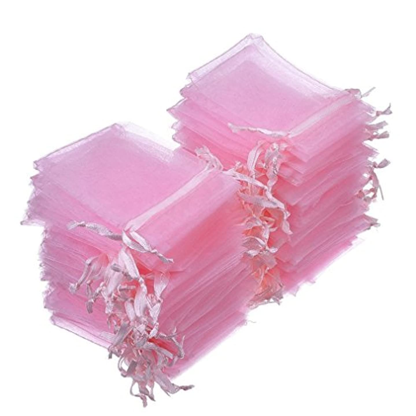 Dealglad 50pcs Drawstring Organza Jewelry Candy Pouch Christmas Wedding Party Favor Gift Bags (3x4, Pink)