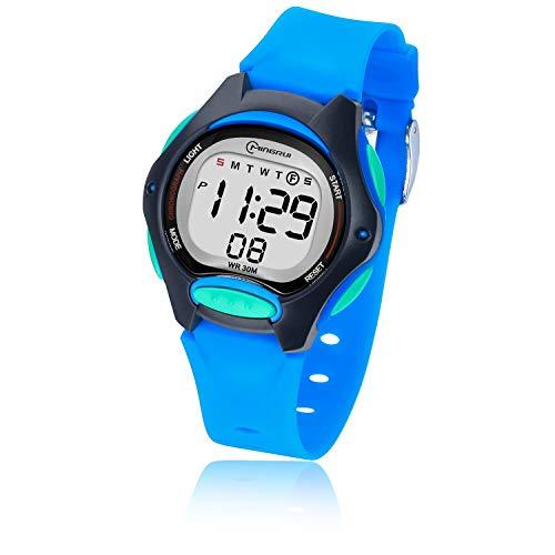Digital Kinderuhr für Mädchen Jungen,Kind Armbanduhren Wasserdicht Multifunktionsalarm Soft Strap Nette Uhren für kleine Kinder Alter 3-12 als Geschenk (Blau)