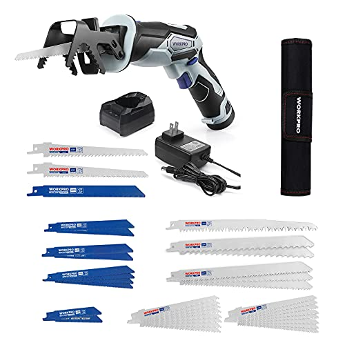 WORKPRO 12V Cordless Reciprocating Saw with Clamping Jaw, 2.0Ah Li-Ion Battery with 1 Hour Fast Charger+ 32-piece Reciprocating Saw Blade Set - Metal/Woodcutting Saw Blades, Pruner Saw Blades