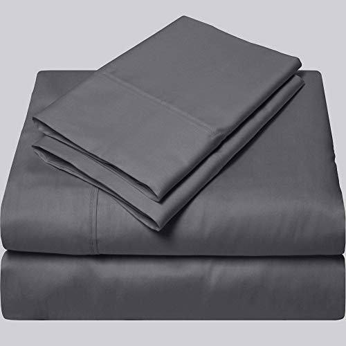 EGYPTIAN COTTON UK DOUBLE Fitted Sheet 600 Thread Count Dark Gray Solid 38 Cm Deep Pocket # Exotic SGI Bedding Europe Collection (One Fitted Sheet Only)