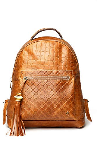 VELEZ Leather Backpack for Women - Floral Stylish Real Leather Laptop Backpack
