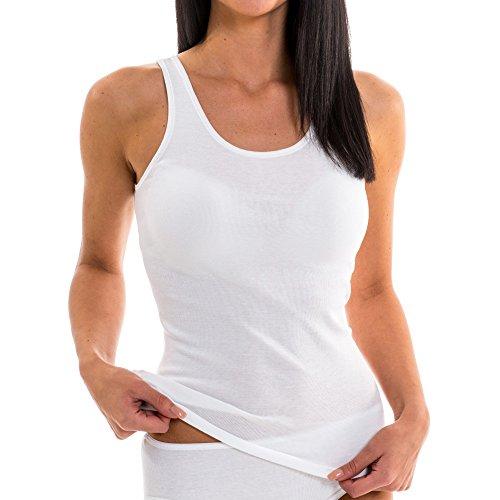 HERMKO 61310 Damen Funktions Wäsche Unterhemd Shirt Tank Top, ideal für Sport und Freizeit, bioaktive Ausrüstung, Farbe:weiß, Größe:40/42 (M)