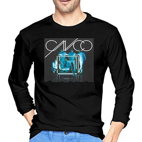 ChangJieZhen CNCO - Primera Cita Fun Fashion Star Men's Long Sleeve Cotton Crew NeckBlack T