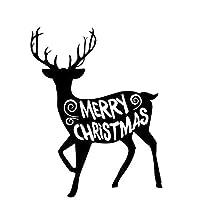 ベルビューティーフラワー 15.2CM * 19.5CMクリエイティブエルククリスマスカーステッカービニールステッカーブラック/シルバーC23-0007を祝うために (Color Name : Black)