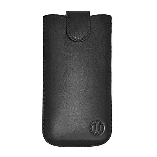 JT Berlin SlimHülle Premium Echtledertasche für z.B. Apple iPhone 8/7/6S/6, Samsung Galaxy A3 (2017)/S5 mini [Größe 2ML I Gürtelschlaufe I Magnetverschluss I