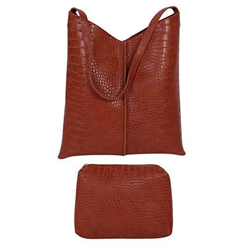 Atyhao PU-leer dames handtas schoudertas boodschappentas met portemonnee kunstleer schouder handtas grote shopper set