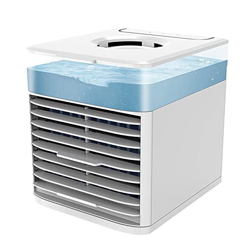 FCMU Pequeño aire acondicionado portátil, mini refrigerador de aire refrigeración/humidificador/difusor de aroma/iluminado 4 en uno escritorio refrigerador de aire gris claro