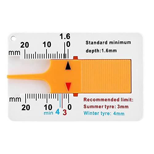 Herramienta de medición Medidor de profundidad de la banda de rodadura del neumático Medidor de rodadura para el remolque del automóvil, los accesorios del automóvil - Blanco + Amarillo