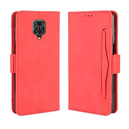 ZAORUN Funda protectora para teléfono celular compatible con Xiaomi Redmi Note 9 Pro/Note 9S/Note 9 Pro Max estilo cartera, piel con patrón de ternera, con ranura para tarjeta separada (color rojo)