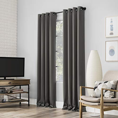 "Sun Zero Nordic 2-pack Theater Grade Extreme 100% Blackout Grommet Curtain Panel Pair, 52"" x 84"", Gray"