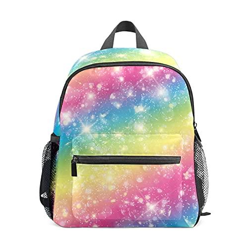 Mini mochila para niñas con diseño de estrella de arco iris y luz pequeña para mujer, bolsa de viaje de 12 pulgadas, bolsa de escuela para niñas y niños
