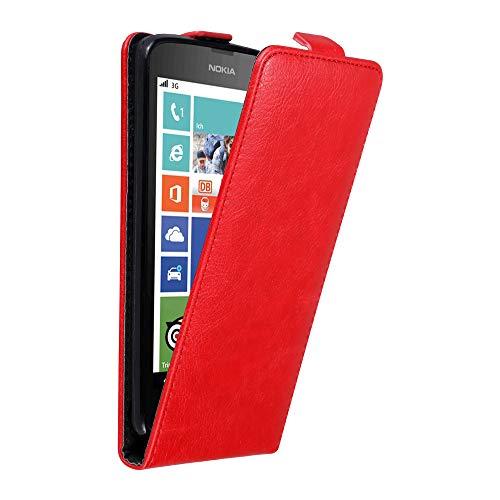 Cadorabo Hülle für Nokia Lumia 630/635 in Apfel ROT - Handyhülle im Flip Design mit unsichtbarem Magnetverschluss - Hülle Cover Schutzhülle Etui Tasche Book Klapp Style