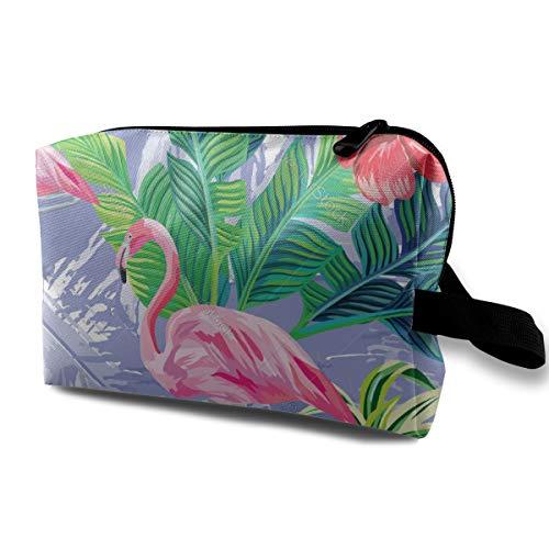 Pink Flamingo Leaves Blue Cosmetic Beauty Bag Cosmetic Makeup Bag Waterproof Women Girl