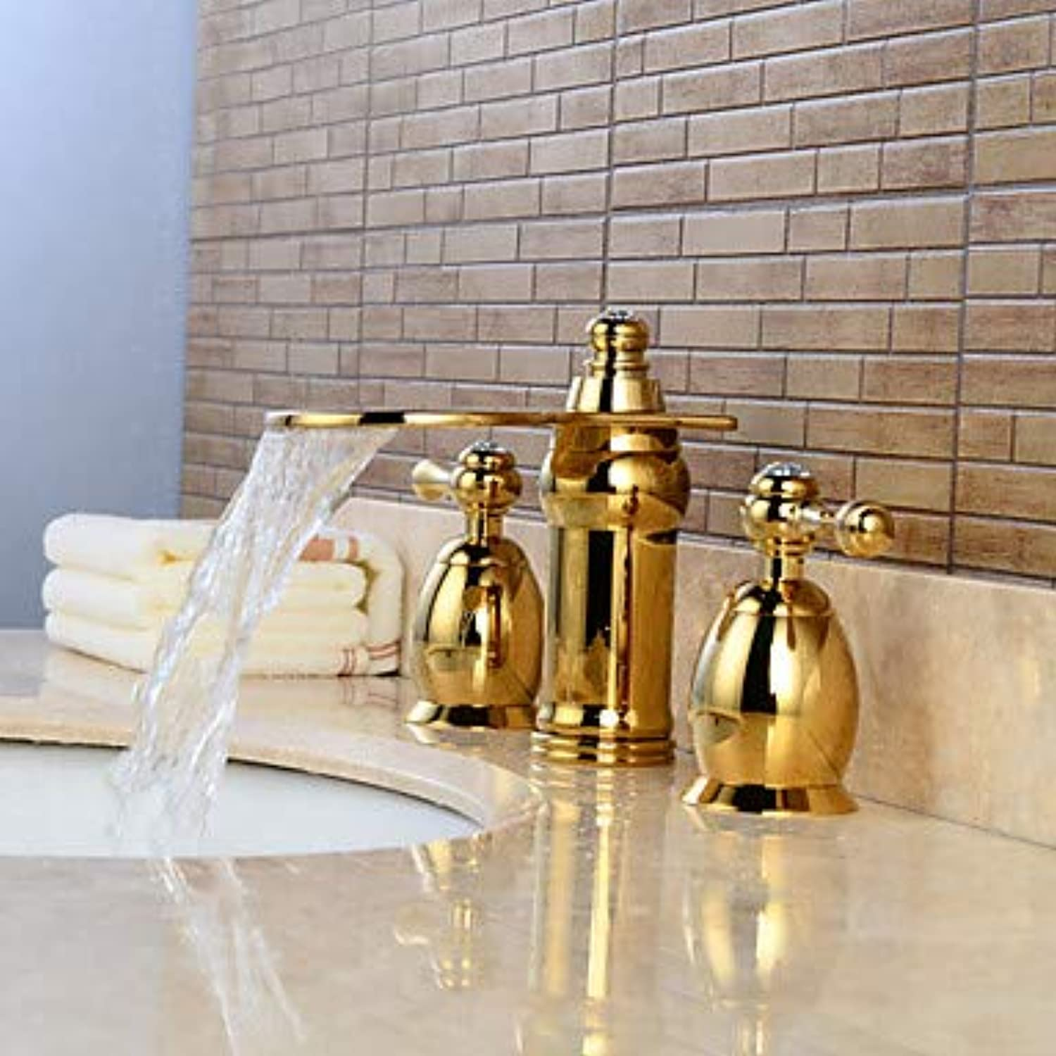 Mangeoo Bathroom Sink Faucet - Waterfall Widespread Ti-Pvd Widespread Two Handles Three Holesbath Taps