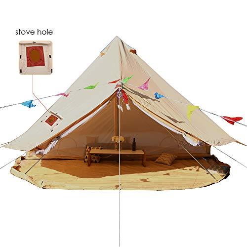 UNISTRENGH Beige Large Luxury Four Season Cotton Canvas Bell Tent