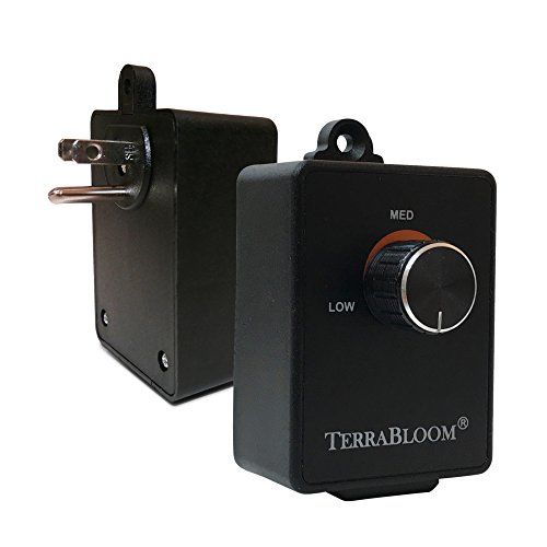 TerraBloom Fan Speed Controller For Booster Inline Exhaust and Duct Fans. Blower Airflow and Motor Speed Adjuster. Rated For Up To 350W. Continuous Dial Rheostat Control