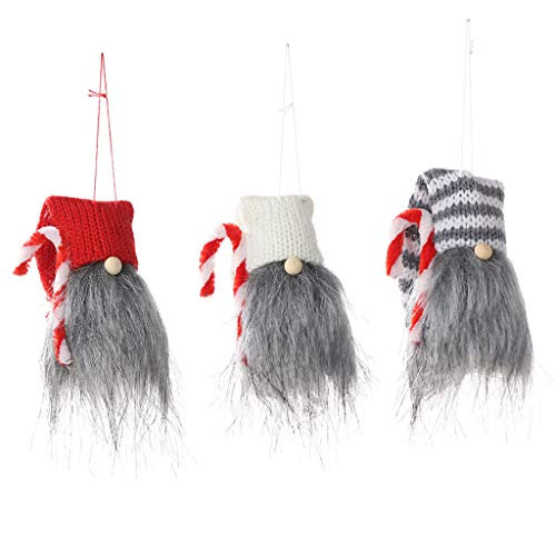 Shan-S 3PCS Christmas No Face Doll Decoration Hat Hanging Cute Long Leg Santa Swedish Gnome Plush Dolls Table Decor Pendant Toy for Xmas Home Kids Family Ornaments New Year Gifts