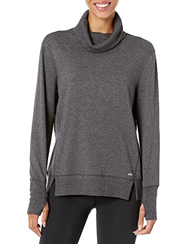 Amazon Essentials Women's Studio Terry Long-Sleeve Funnel-Neck Sweatshirt Shirt, -Charcoal Heather, M