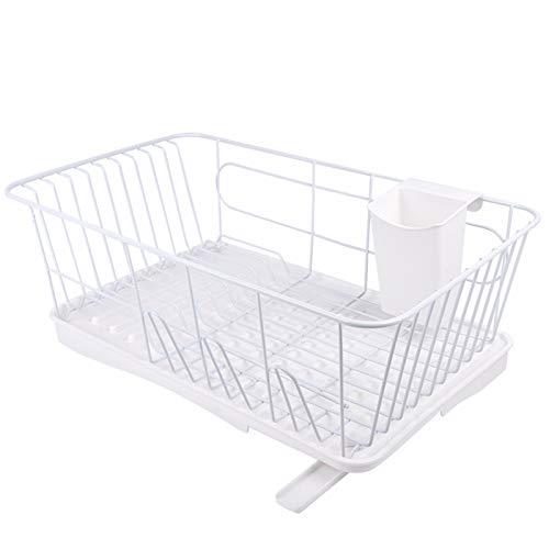 水切りかご スリム 食器水切りラック 可動式排水ノズル付 箸立て コップホルダー 皿置き キッチンラック ホワイト