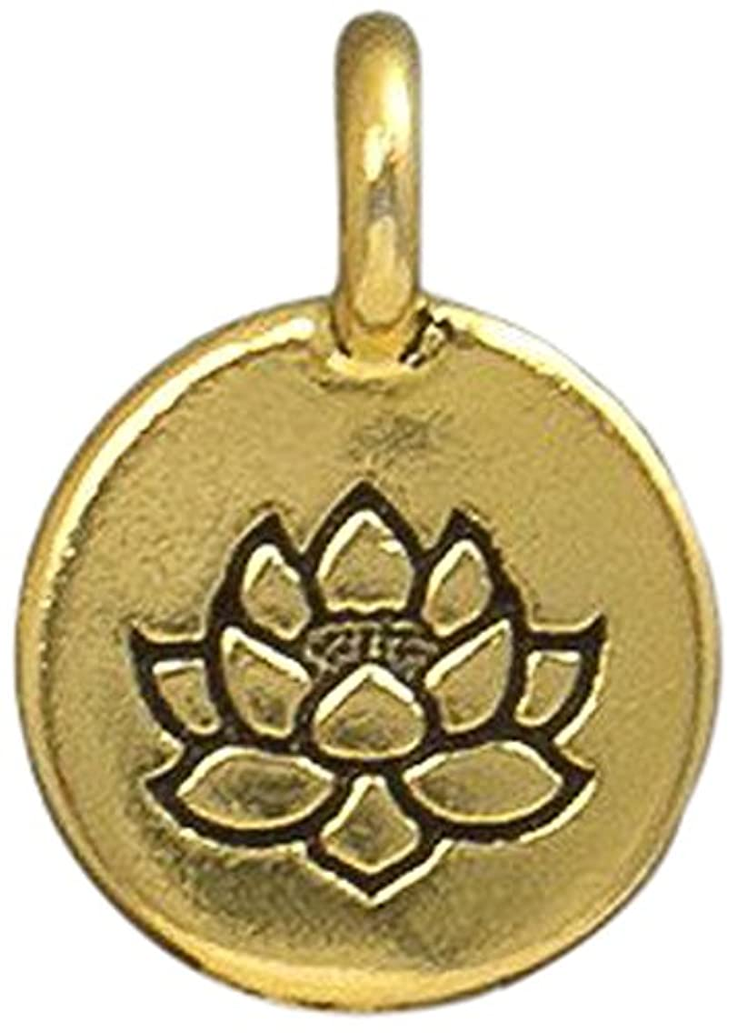 TierraCast Charm Lotus Beads, 11.5 x 16mm, Antique Gold