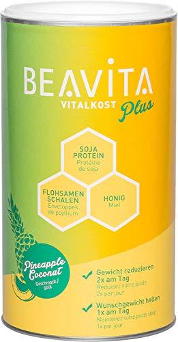 BEAVITA Vitalkost Plus – Kokos-Ananas Pulver 572g - Diät Shake für unbeschwertes Abnehmen - für 10 Drinks - Kalorien sparen & Gewicht reduzieren - vitaminreicher Mahlzeitenersatz Shake mit Diätplan