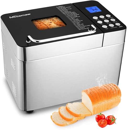 Nictemaw Panificadora Automática, 25 Programas, Capacidad 500g/750g/1000g, LCD,600W Máquina de pan con botón, 15H Temporizador de Citas, Yogurt,para Panes, sin Gluten, Bizcochos,Mermeladas y Masas