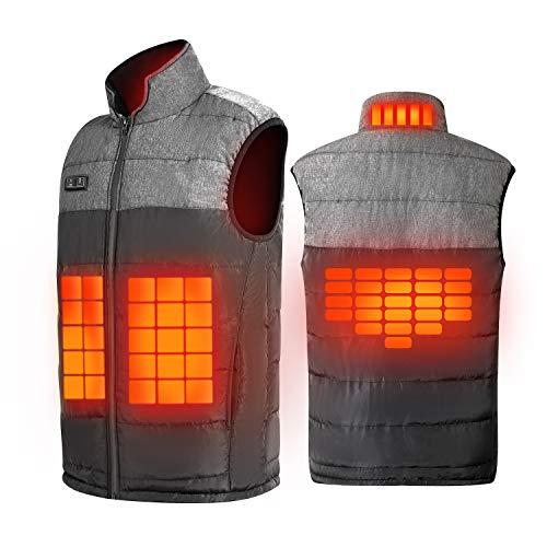 Rishaw Chaleco Calefactor para Hombre y Mujer, Abrigo con Calefacción Ajustable Desde Dos Botones, 4 Zonas de Calor, Chaqueta Calefactora Eléctrica Lavable Apta para Invierno Deportes al Aire Libre