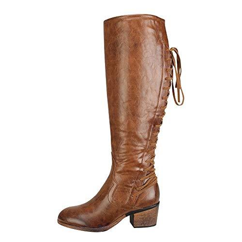 BaZhaHei Damen Schuhe Damenmode Leder Schnürschuhe High Heels Stiefel Winter Sexy Knie Stiefel Autumn Winter Boots Süße Stiefel Stilvolle Flache Flock Schuhe