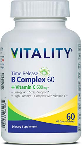 NEW - VITALITY Time Release B60 Complete + Vitamin C 600mg   B-Complex   Boosts Energy   Immunity & Mood Support   Vegan   One-A-Day   60 Tablets -  Vitality Products Inc., KY-KXK6-7CL5