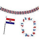 Sonia Originelli Fan-Paket-9 WM EM Fußball Fan Girlande Mini Flagge Hawaiikette Farbe Kroatien