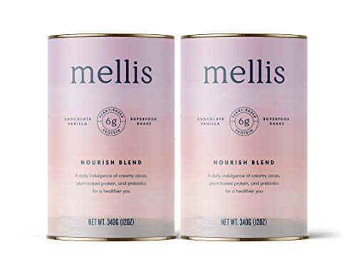 2 Pack Protein Powder Mellis Nourish Blend Chocolate Shake, a plant-based daily indulgence of creamy cacao, protein and prebiotics for a healthier you
