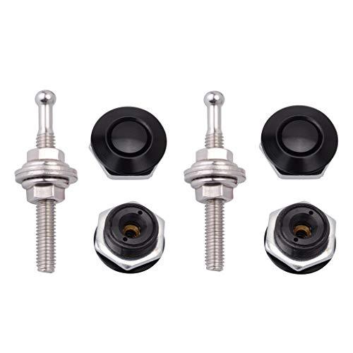"STETION Quick Release Latch License Plate Lock Clip 1.25"" Diameter Aluminum Alloy Car Hood Pins Lock Clip Kit for Bumper Hood License Plate (2 Pack - Black)"