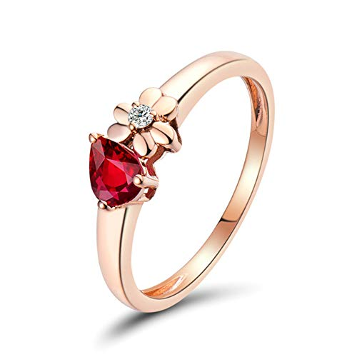 Beydodo Ruby Ring Engagement for Women, Birthstone Rings Personalised Size L 1/2 Flower with Diamond and Ruby 0.4ct - 18k Gold Rings for Women