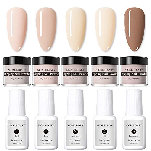 NICOLE DIARY Dipping Nail Powder Nail Starter Kit French Dip Acrylic Nails Powders System Liquid NO UV/LED Nude Colors Dip Acrylic Nail Glitter Powder System Set